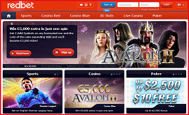 Redbet Casino 1.000 € Bonus and 250 Free Spins