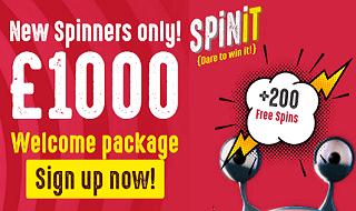SPINIT CASINO – 200 FREE SPINS AND £1.000 BONUS
