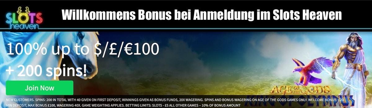 Slot Heaven Willkommens Bonus