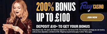 Foxy Casino UK Sign Up Welcome Bonus