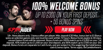 Spin Rider Bonus UK Welcome Bonus