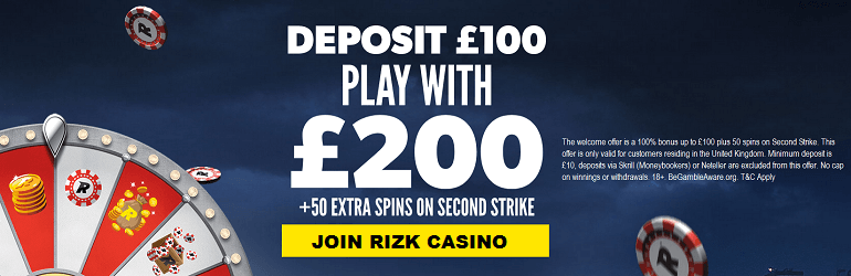 Rizk Casino UK Bonus